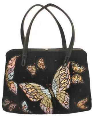 Vintage Black Velvet Butterfly Appliquéd Purse 1950'S