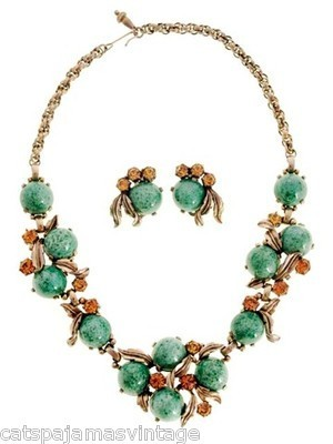 Vintage Signed Jewelry Schiaparelli Necklace & Ears 1950s Aqua & Gold