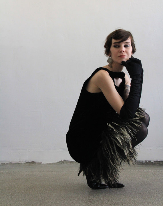 1960s Ostrich Feather Victor Costa LBD