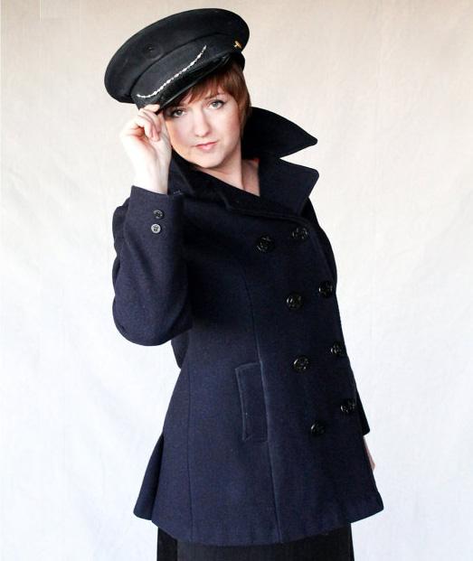 Vintage Navy Wool Military style Jacket Lined in bright orange