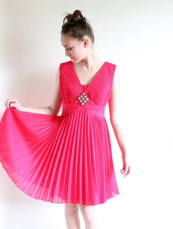 60s cocktail dress - fuschia micro pleated overlay vintage dress