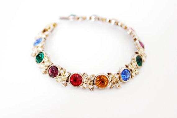 Vintage Tennis Bracelet with Multi Color Rhinestones