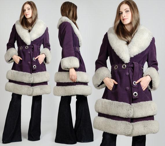 vintage 60s Purple SHEARLING fur MOD Coa