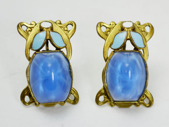 Max Neiger BLUE Sugarloaf GLASS Stones and Enamel Leaf & Dot Screw Back EARRINGS -- Art Deco