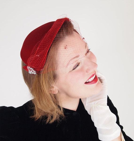 50s Red Velvet Hat with Rhinestone Brooch & Veil