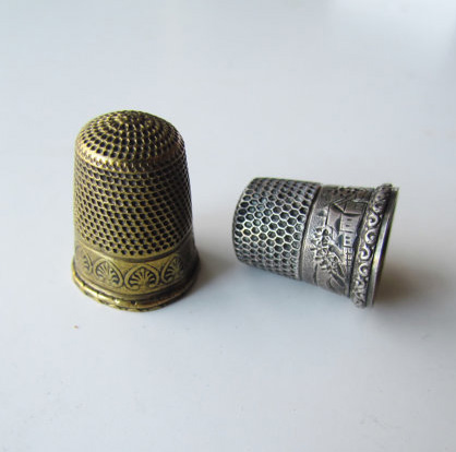 Antique Thimble Set Sterling and Brass c.1880s