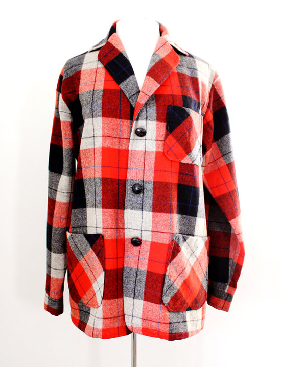 Vintage 50s 60s Red Plaid Oversized Jacket by Campus Casuals