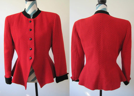Vintage Christian Dior Red Wool Jacket with Peplum and Black Polka Dots