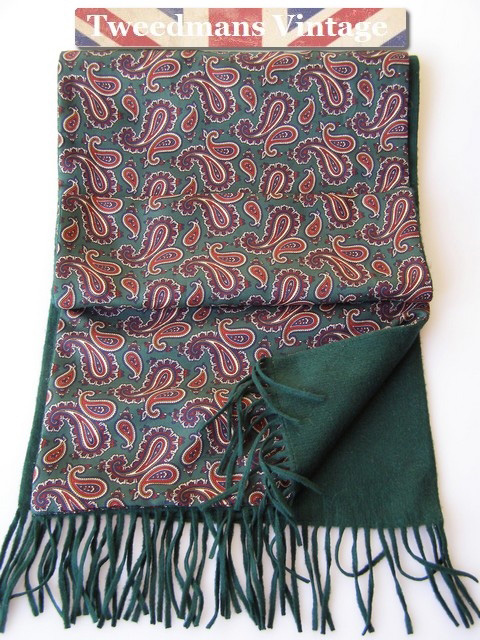 Vintage Men's Green paisley scarf