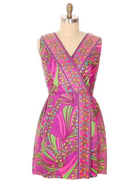 Vintage Dress Border Print Mini Dress Purple Pinks 1970S