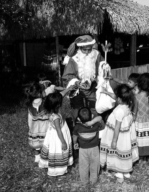 Seminole Chief Billy Osceola as Santa Claus: Hollywood Indian Reservation, Florida 1959