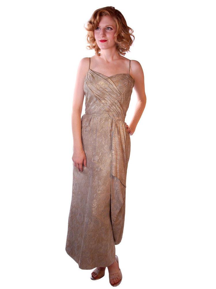 Stunning Vintage Gold Silk Metallic Brocade Evening Gown 1950S