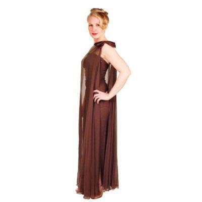 Vintage Silk Chiffon Goddess Gown Chocolate 1970S