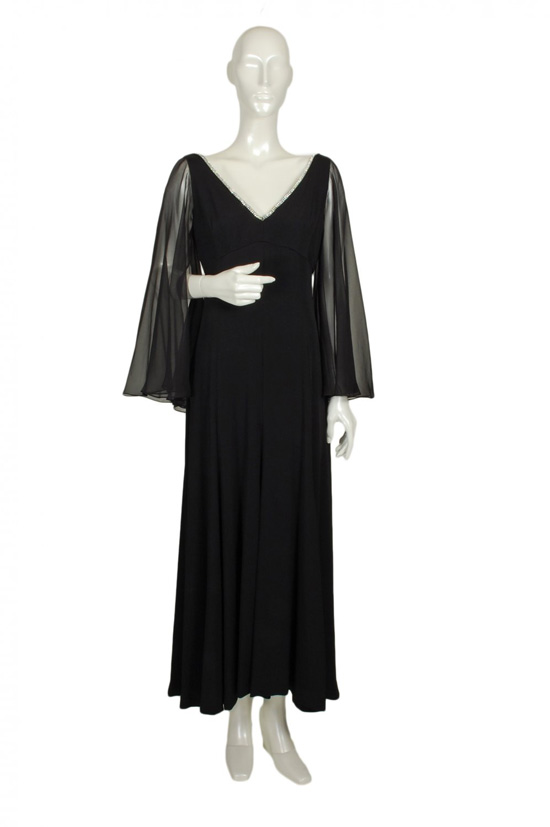 1960s desmond rhinestone trim evening gown