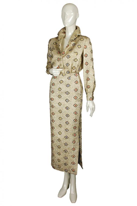 1960s elvis lamé maxi skirt set