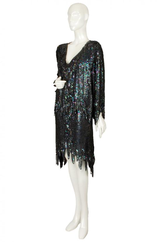 1980s hedi sequin harem pant, skirt + blouse set