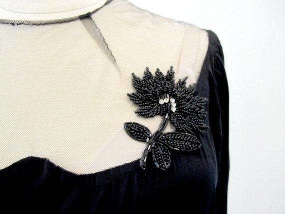 40s Black Dress, Vintage Evening Dress, Old Hollywood
