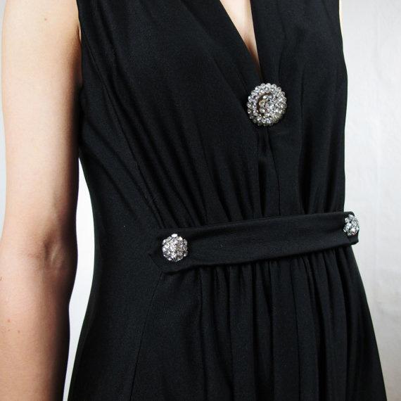 70s Rhinestone Formal Empire Maxi Dress