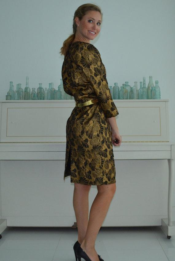 Vintage 80's Gold Lame Art Nouveau Woven Cocktail Long Sleeve Dress