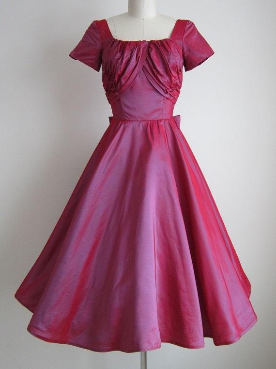 Vintage 1950s Red Formal Dress