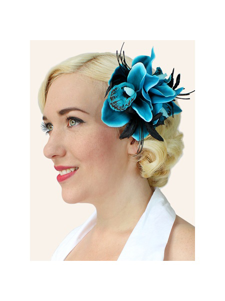 Turquoise Orchid HairClip