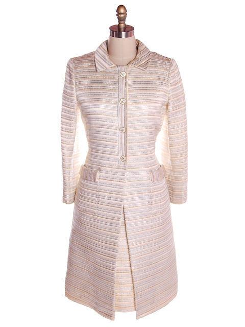 Vintage Suit/Dress & Coat Gold/ SIlver Metallic Striped 1960s