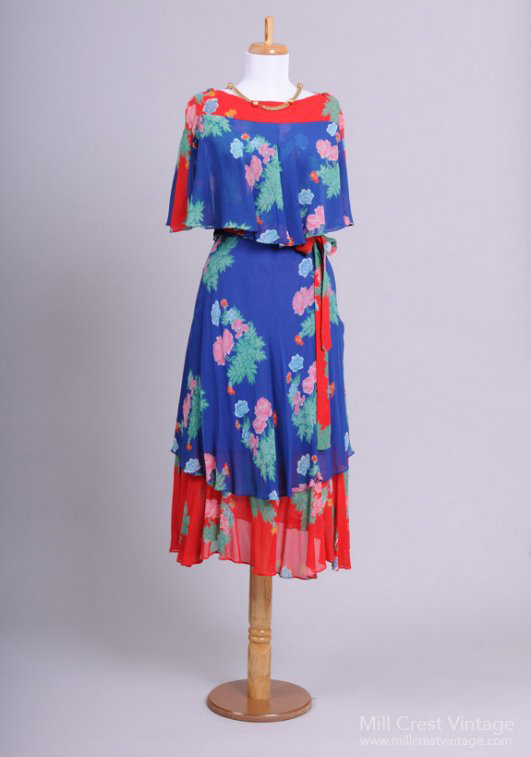 1970 Boho Chiffon Vintage Party Dress