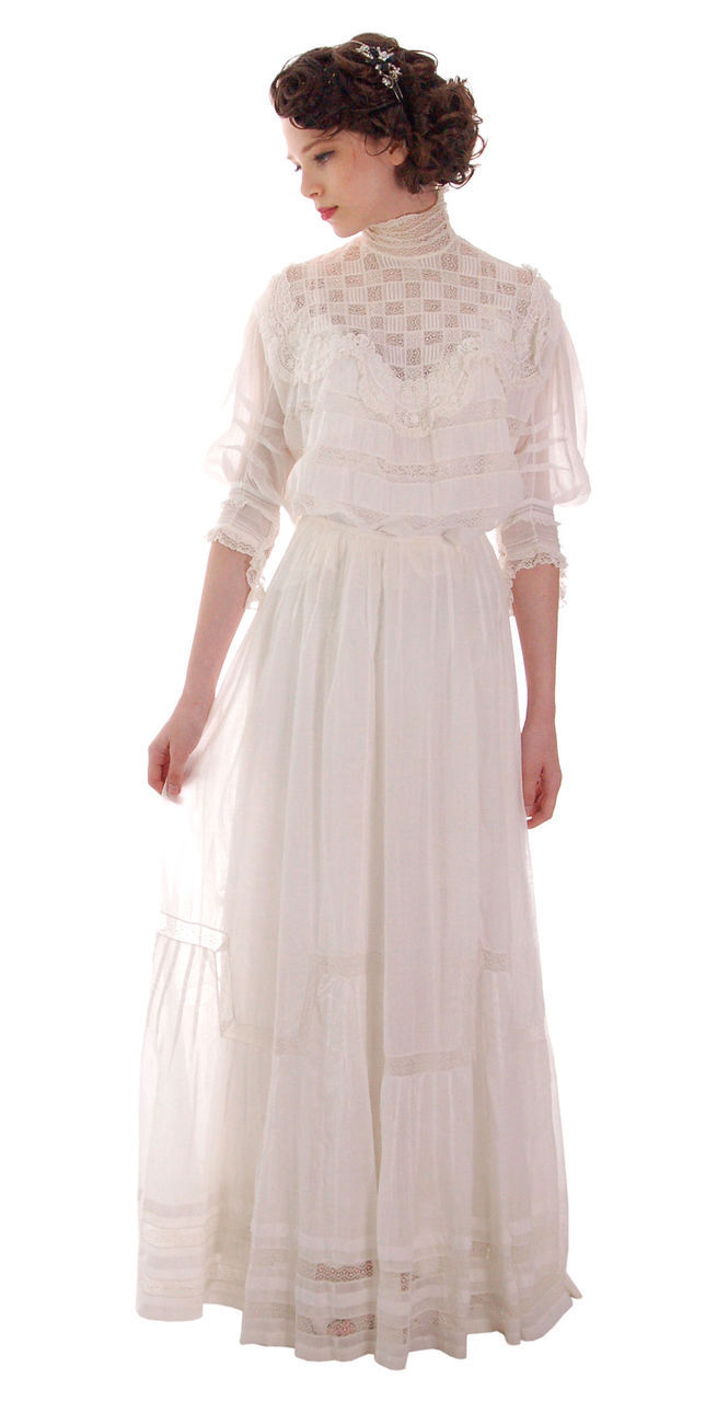 Victorian White Lawn & Lace Fancy Ladies Wedding Dress