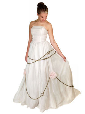 Vintage Winter White Chiffon Strapless Wedding Gown1950S