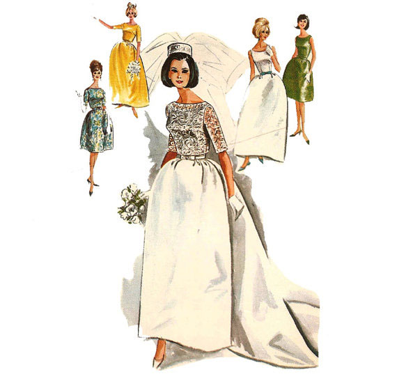 Make your own with this 1960s Wedding Dress Pattern