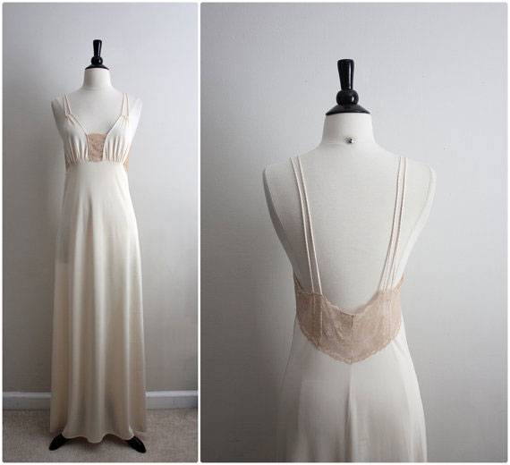 70's Nightgown Champagne-Nude Slip Dress.