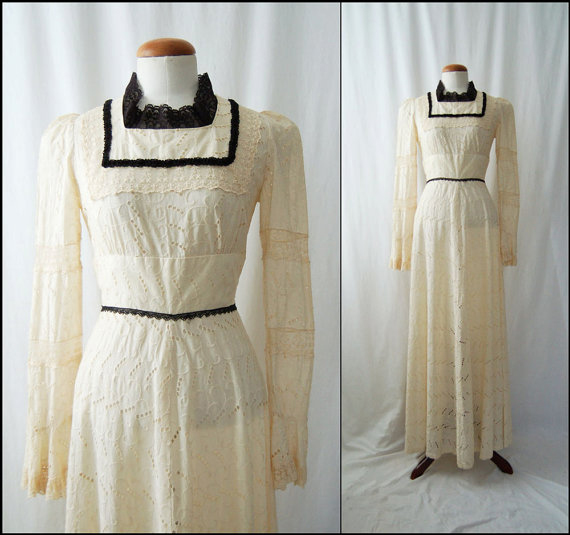1970s Long-Sleeve Ivory Eyelet Vintage Maxi Dress