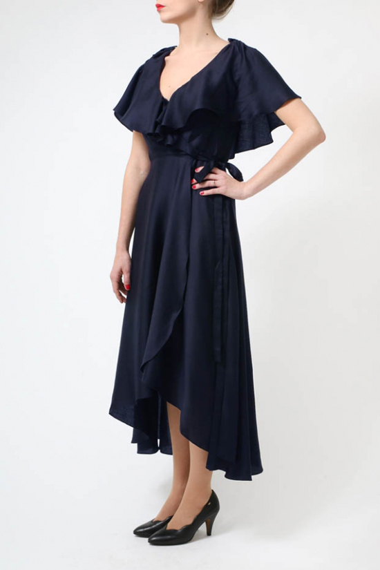 The Navy Louise Tencel Dress by BANNOU