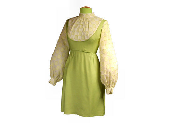 Vintage Dress Lime Green Flocked Balloon Sleeves 1968