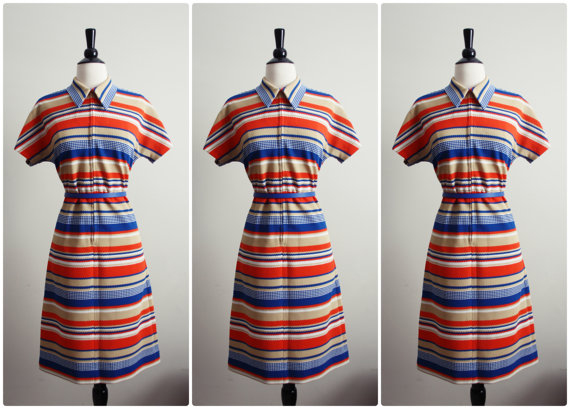 Vintage 60s Orange stripes Mod Mini Dress. Scooter dress.