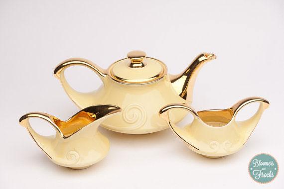 Vintage 1950s 22k Gold Trim Tea Pot, Sugar and Creamer Set