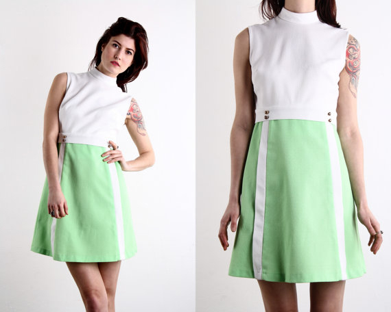 MOD Day Dress in Green & White