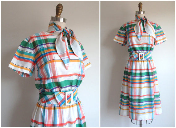 Vintage 1960s Plaid Dress