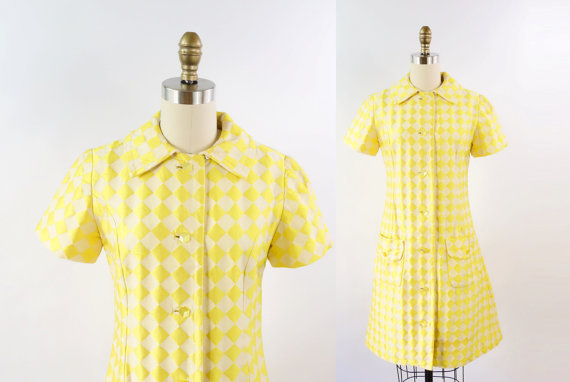 Vintage 1960s Mod Dress Yellow Checkered Medium