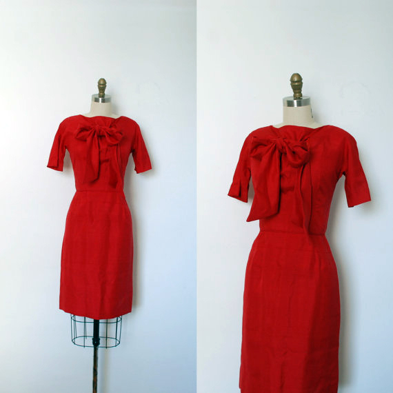 60s Red Silk Wiggle Dress
