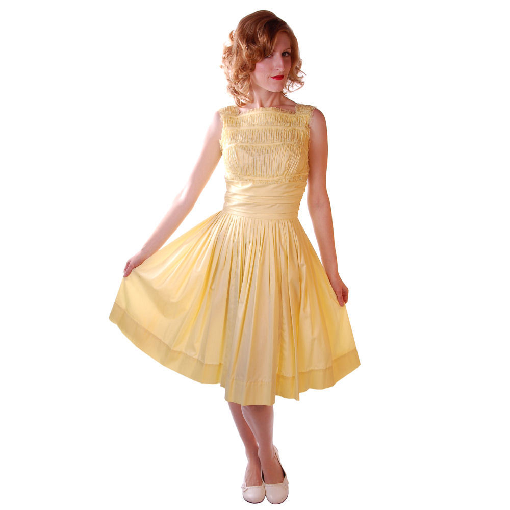 Vintage Yellow Cotton Day Dress 1950s