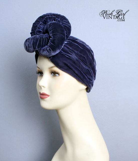 1930's Blue Velvet Twisted Turban Hat