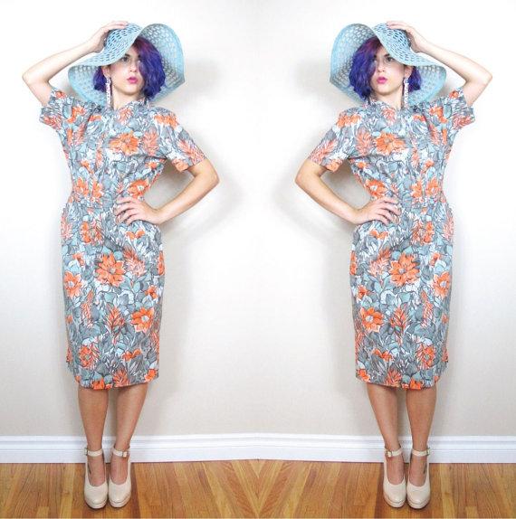 Vintage 1950s Dress Floral Wiggle Dress Pinup Belted Cotton Dress