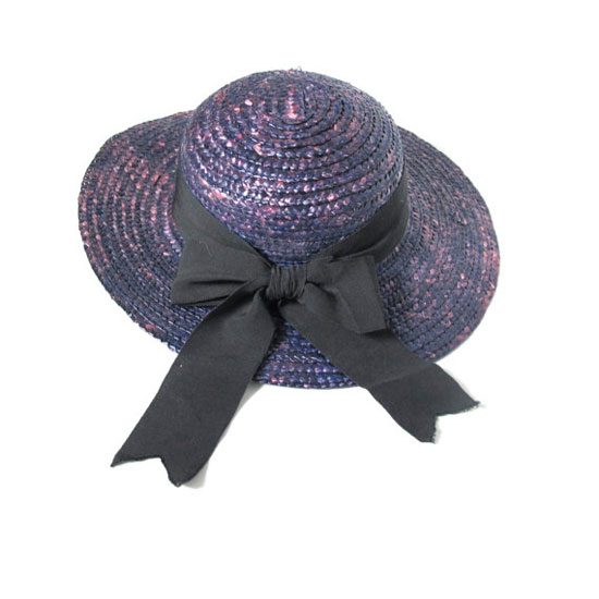 80s Purple Sun Hat Summer Straw Hat