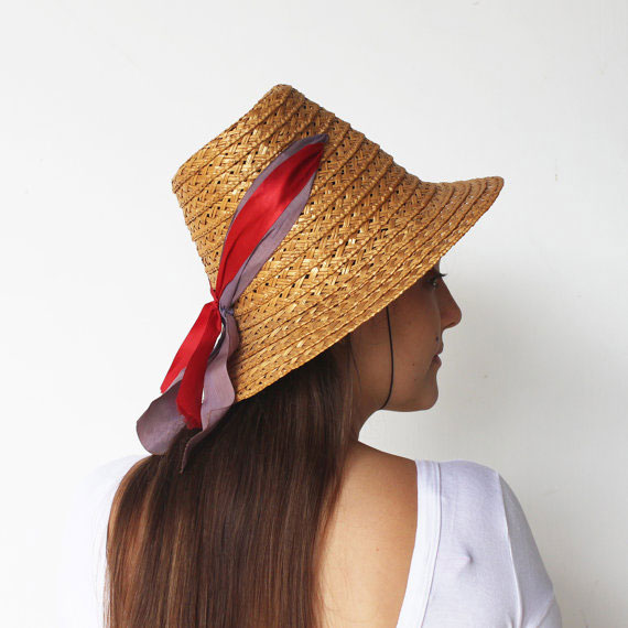Vintage Early 1960s Straw Sun Hat