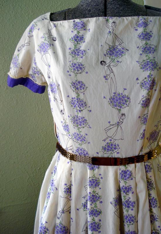 Vintage 1950s Dress Cotton Novelty Print