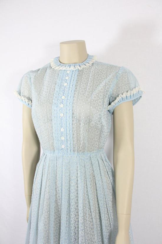 Semi Sheer Swiss Dot and Flocked Chiffon Light Blue Day Dress