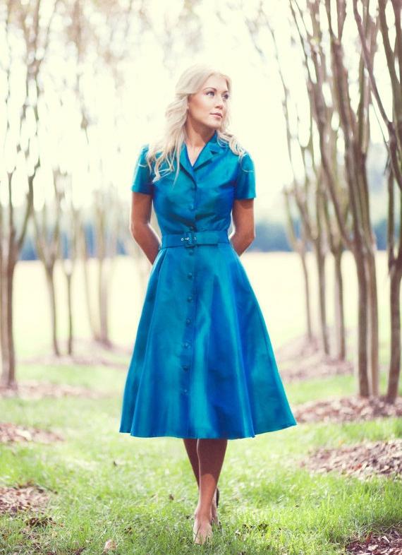 Vintage 50s Blue martini Bombshell Dress