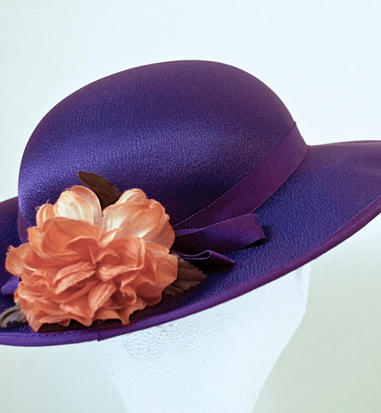 Aubergine Purple 70's Wide Brim Satin Vintage Hat