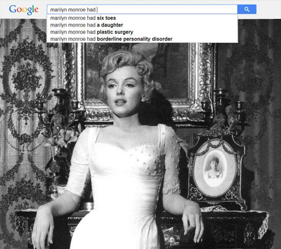 Google results for Marilyn Monroe